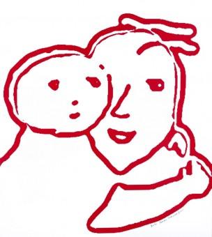 Beeldend kunstenaar Friesland Aukje Reitsma tekening Moeder en Kind
