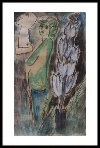 Vrouw in beeldentuin